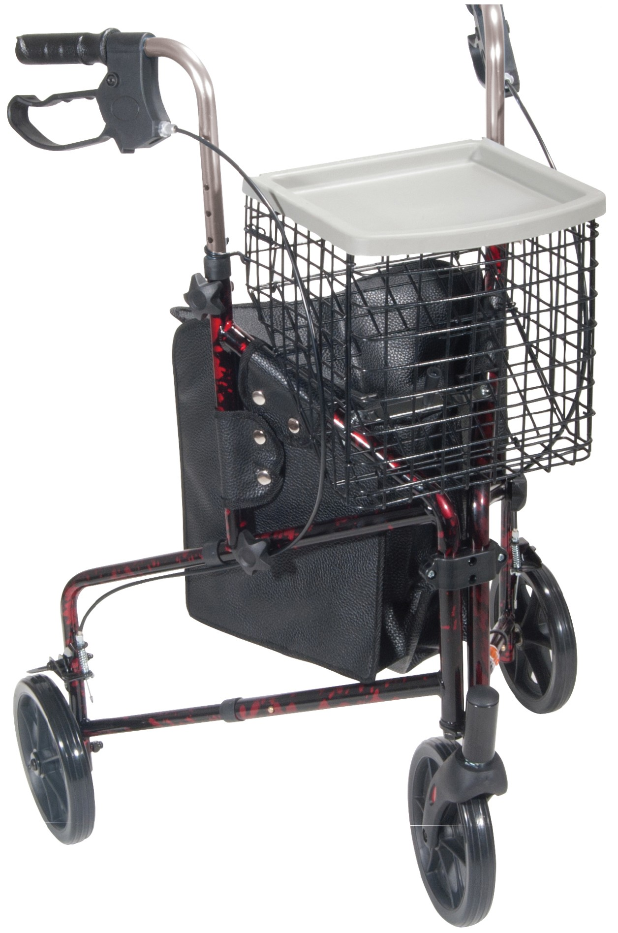 Drive Medical Deluxe 3 Wheel Aluminum Rollator with 7-1/2