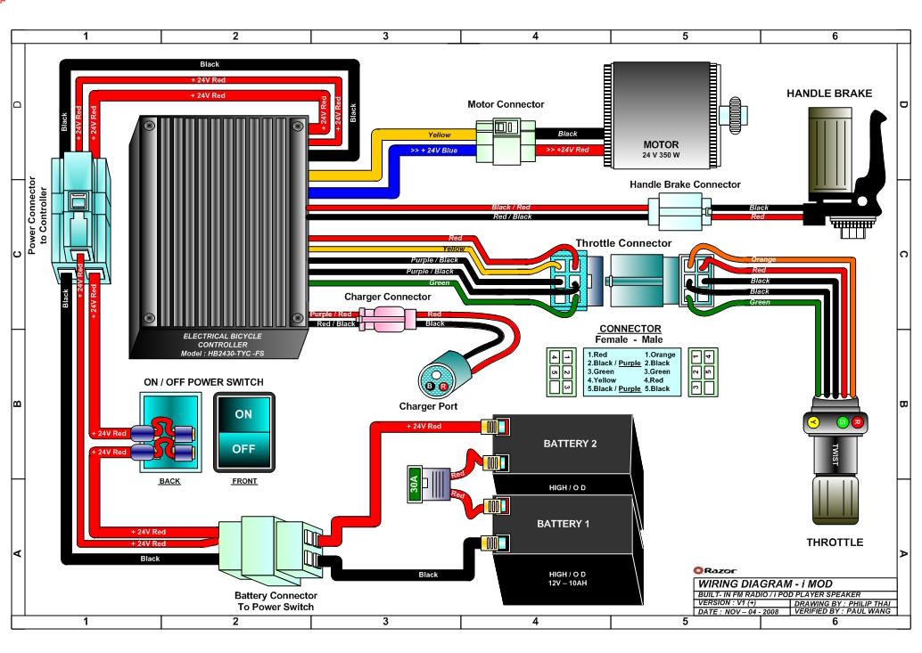 Razor Variable Sd 5 Wire Twist Grip, Razor E300 Wiring Diagram